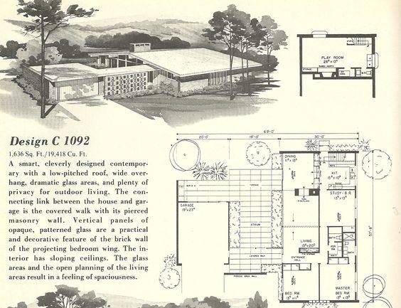 Mid Century Modern House Plans | Vintage House Plans 1960s: Spanish Style and Mid Century Modern ...