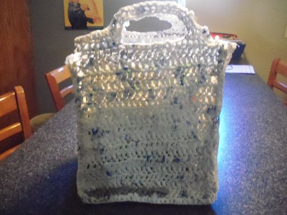 Medium plarn bag.  Made out of upcycled Walmart bags.