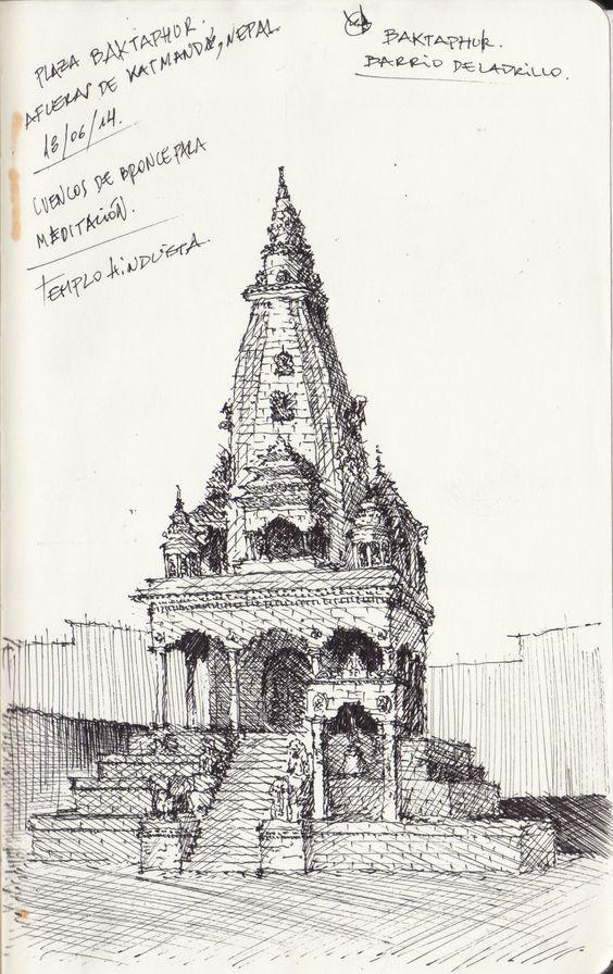 Croquis - Baktaphur Nepal - por Facundo Alvarez