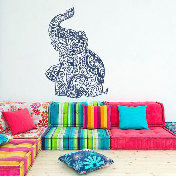 Elephant Wall Decal Stickers- Elephant Yoga Wall Decals Indie Wall Art Bedroom Dorm Nursery Boho Bedding Home Decor Interior Design Approximate
