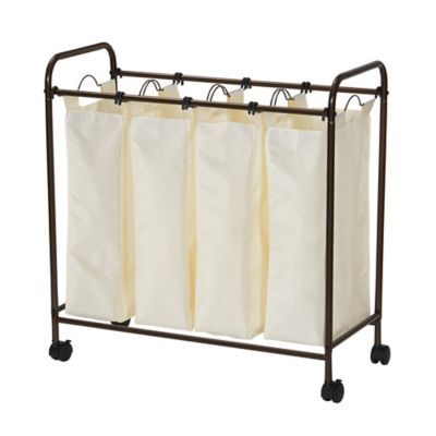 Household Essentials Rolling Quad Laundry Sorter With Images