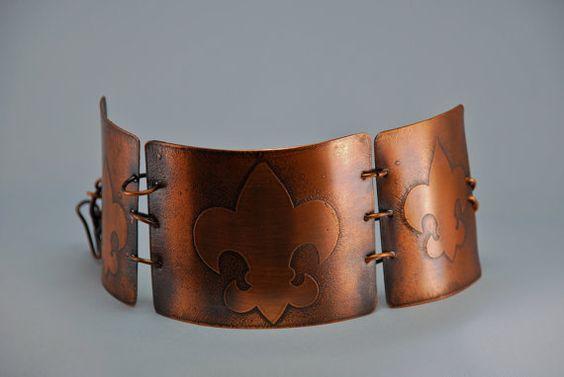 Hand Etched Copper Fleur De Lis by mimi1214 on Etsy