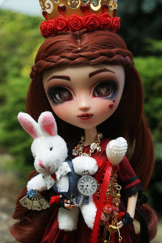 RESERVED OOAK Custom Repaint Pullip Wonderland Queen Of Hearts And White Rabbit