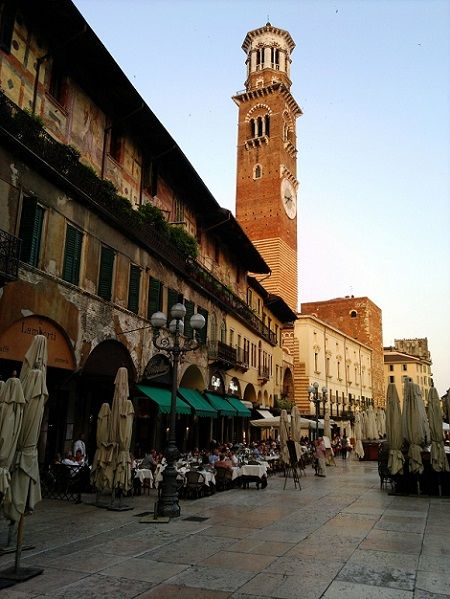 Piazza delle Erbe - a delightful place to pass an afternoon or morning.