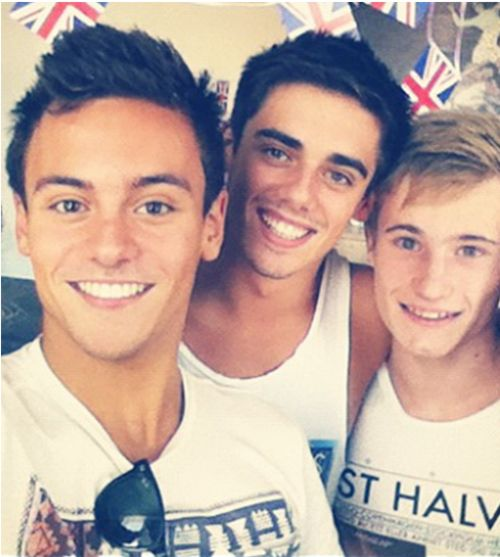 Tom Daley,Chris Mears, Jack Laugher, Great Britain dive team, Olympics 2012. Apparently, Great Britain is the place to be ;)