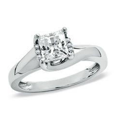 1/2 CT. T.W. Princess-Cut Diamond Twist Solitaire Engagement Ring in 14K White Gold