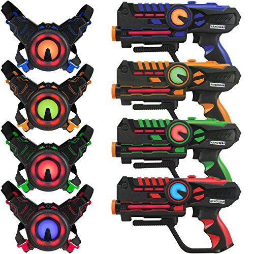Armogear Infrared Laser Tag Blasters And Vests Mega Battle 4 Pack Gift Ideas For 14 Year Old Boys Giftguide Giftideas Laser Tag Toys Laser Tag Cool Toys
