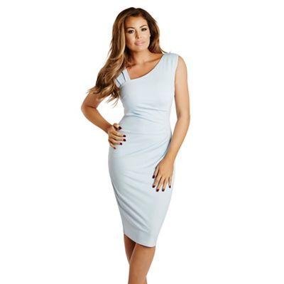 Jessica Wright Pale blue 'Toni' ruched bodycon midi dress   Debenhams