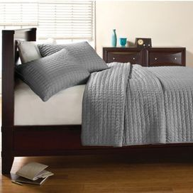 "Textured cotton quilt set.  Product:   Twin: Quilt and 1 standard sham     Full/Queen: Quilt and 2 standard shams   King: Quilt and 2 king shams Construction Material: Color: Grey Dimensions:    Twin Quilt: 88"" x 68""      Full Quilt: 90"" x 90""   King Quilt: 96"" x 104""Note: Shams do not include insertsCleaning and Care: Machine washable"