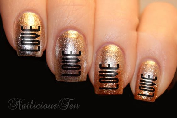 Love Words Water Transfer Nail Decal ST8059 #gold