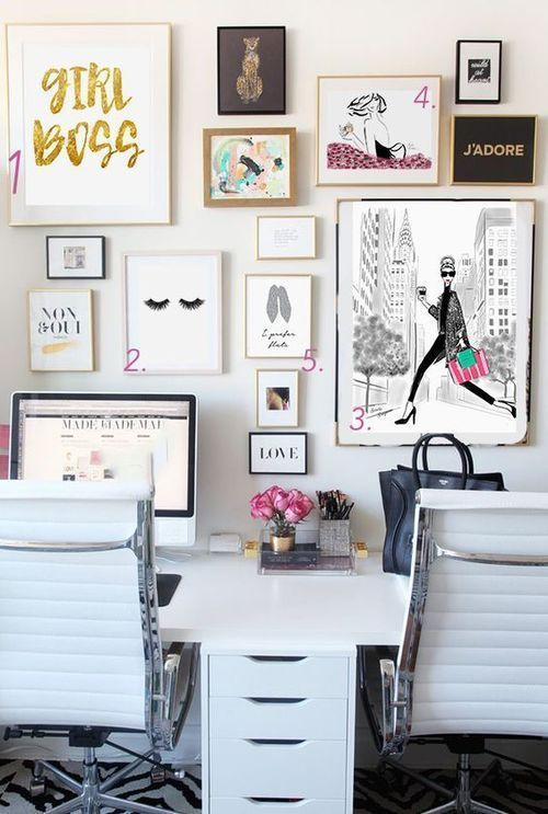 Cute Desk Area For The Girl Boss Love The Collage Wall For The Office Home Office Decor Home Office Design Room Inspiration