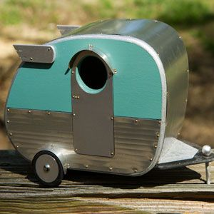 """CUUUUUTE. Shasta Travel Trailer (40's 50's inspired). Birdhouse by Jumahl. """"Want To Give Feathered Friends Their Own Camper?"""" 