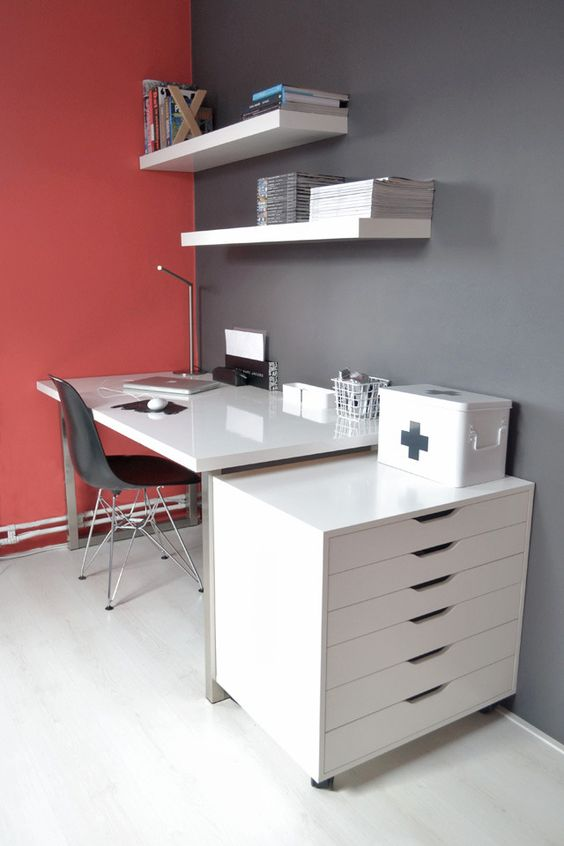 Ikea alex drawer unit on casters white furniture workspace - Interiors by design computer desk ...