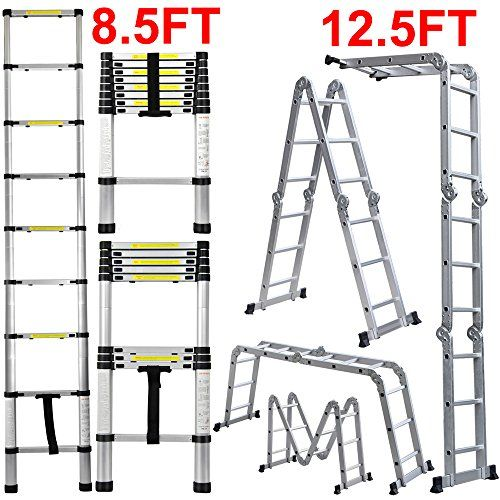 Flash Enterprise 12 5 Ft Extendable Telescoping Aluminum Portable Ladder With Finger Protection Spacers En131 Certified 330 Lb In 2020 Portable Ladder Portable Ladder