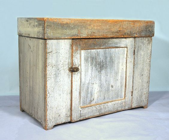 Jeff Bridgman Antiques and American Flags - NEW ENGLAND DRY SINK in GREY PAINT with REMOVABLE WELL, POSSIBLE VERMONT ORIGIN