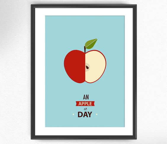 Apple art print fruit kitchen decor / Apple Nº5 an by BeeLabShop