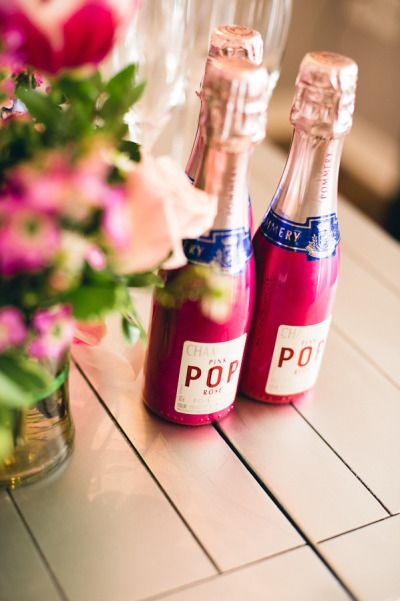 Tiny bottles of pink champagne - awesome favors | Photography by Cyn Kain  Read more - http://www.stylemepretty.com/2013/07/05/barre-bachelorette-from-cyn-kain/