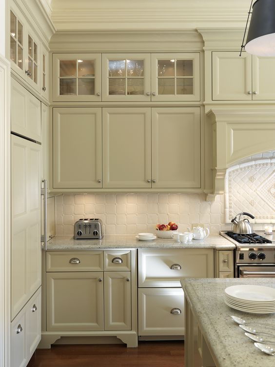 top crown really makes this look. kitchen (glass cabinets on top ...
