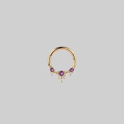 Gold pvd,Surgical Steel 4 marquise Septum,Daith clicker ring..16g..8mm