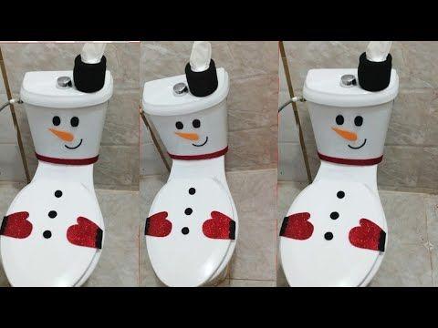 تزين الحمام على شكل رجل الثلج لرأس السنة افكار جديدة لأول مرة على اليوتيوب كريسماس ٢٠٢٠ Youtube Decorative Jars Decor Home Decor