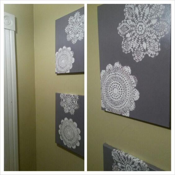 Spray paint, doilies, & canvas: