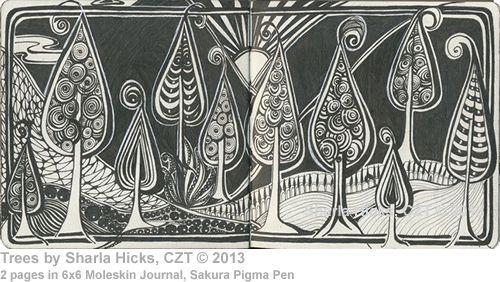 "Trees by Sharla Hicks, Certified Zentangle Teacher Copyright 2013, (2) pages in 6"" x 6"" Moleskin Journal, Sakura Micron Pigma Pen"