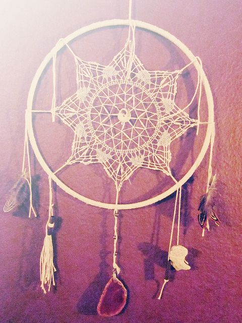 Doilies dream catchers and catcher on pinterest for How to make a double ring dreamcatcher