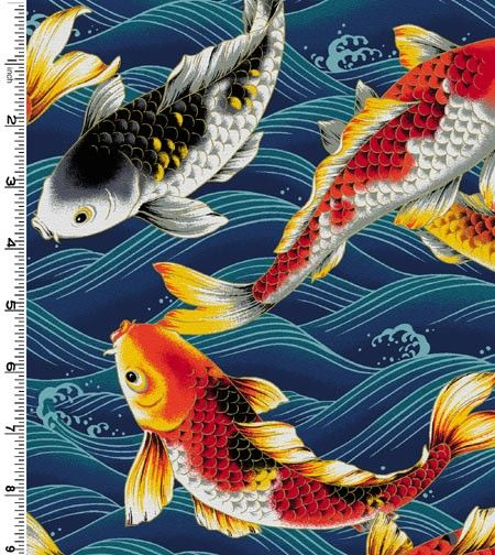 koi fish on blue fabric by the yard the o 39 jays blue