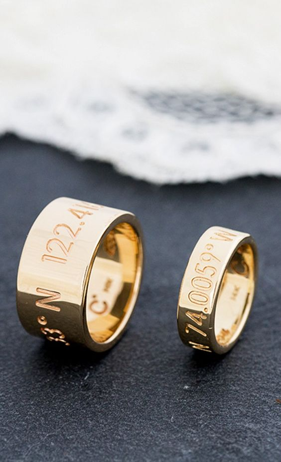 His and her wedding bands with location coordinates your first date the pro