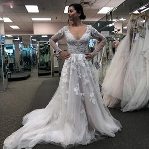 Illusion Sleeve Plunging Ball Gown Wedding Dress David S Bridal Davids Bridal Wedding Dresses Ball Gowns Wedding Wedding Dresses