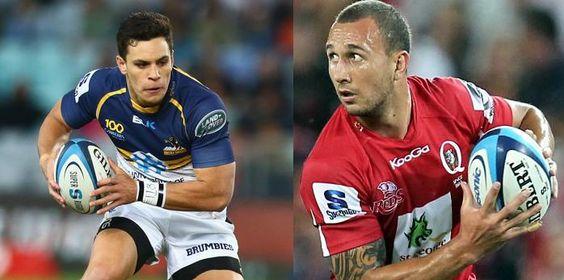 Duel entre les deux ouvreurs des Wallabies Matt Toomua et Quade Cooper pour la seconde journée du Super Rugby 2014 entre les Brumbies et les Reds