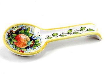 Deruta: Spoon Rest Pomegranate (Also Wall Hung) - Mediterranean ...