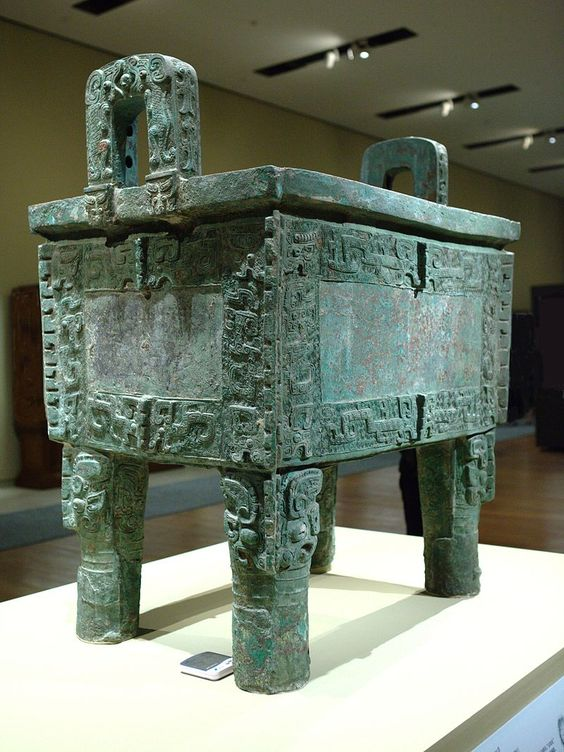 HouMuWuDingFullView - Shang dynasty - The Shang dynasty Houmuwu Ding is the heaviest piece of bronze work found in China so far.