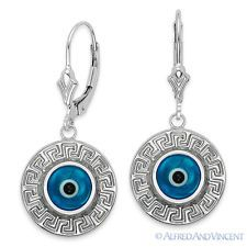 Evil Eye Bead Turkish Nazar Greek Key Mati Charm Sterling Silver Hamsa Earrings