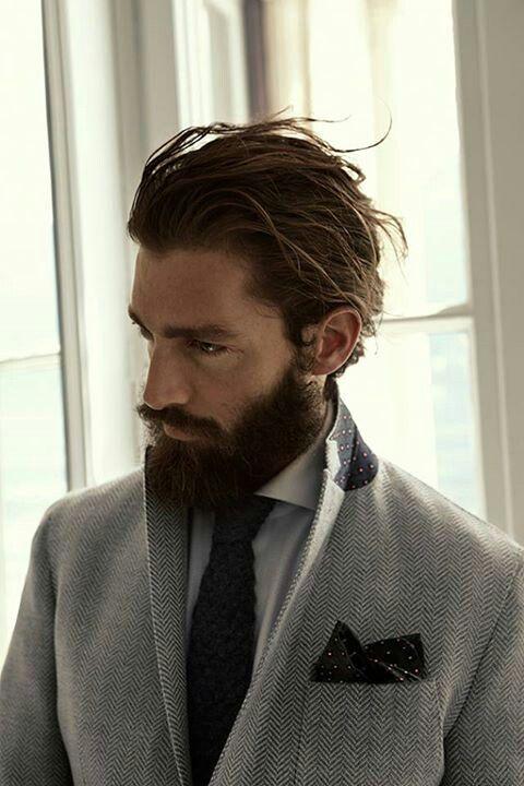 Male Grooming | Herringbone lbm 1911 | Men's haircut hairstyle | Men's long hair pony tail | Men's facial hair beard |