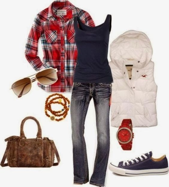Denim jean is mostly used for fall fashions, White vest jacket with hood gives you a cute look by wearing over the red shirt. Blue sneakers ...: