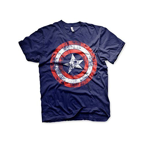 Officially Licensed Merchandise Marvel Comics Captain America Distressed Shield T-Shirt (Navy) #camiseta #friki #moda #regalo