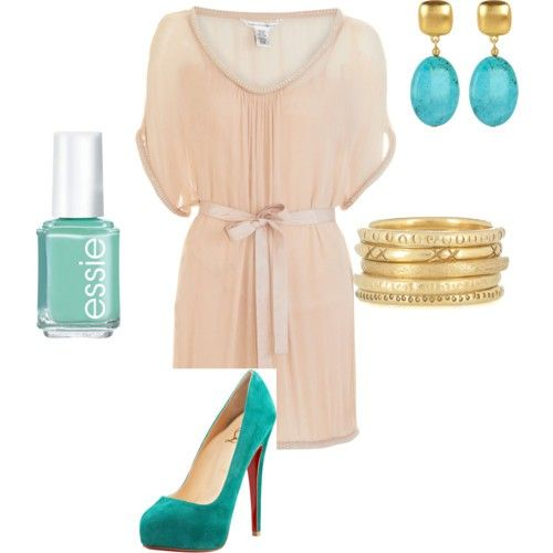 I bought a deathly tall, turquoise pair of suede heels like this (that the 80s is probably coveting) on a whim. Now I'm looking for things to wear them with. Thanks pinterest for encouraging my bad shopping habits.: Turquoise Accents, Color Combos, Cute Dresses, The Dress, Dress Shoes, Accent Color, Color Combination