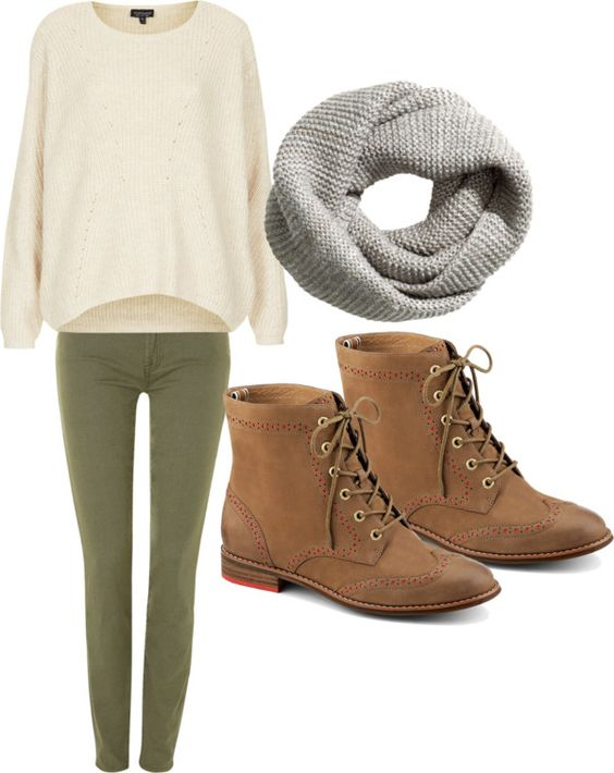 olive green trousers | cream sweater | grey infinity scarf | fall school outfit | by macbarbie07-style on tumblr