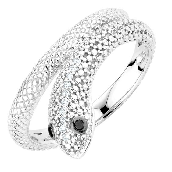 ENHANCED BLACK DIAMOND SNAKE RING