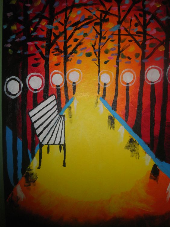 Acrylic painting - park bench