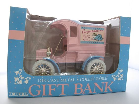 """ERTL Gift Coin Bank Diecast Ford Car """"It's A Girl"""" Pink Collectible Keepsake Vtg #ERTL #Ford"""