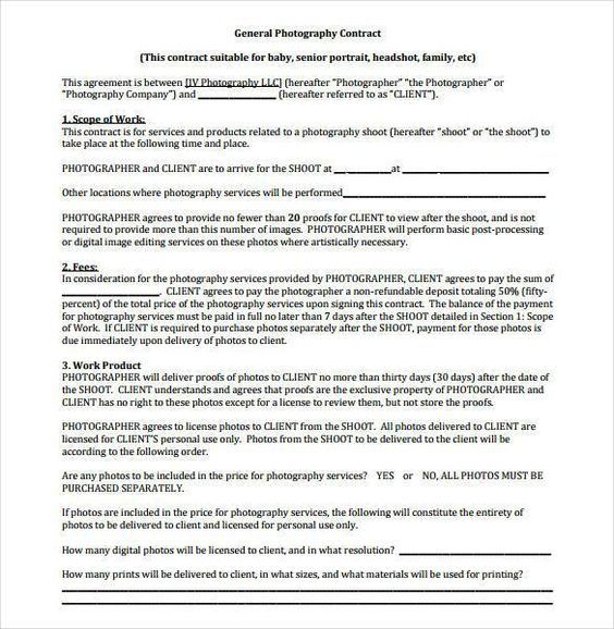 20 Photography Contract Template Photography Contract