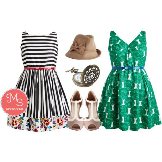 In this outfit: Miss Mix-It Dress, All Day Elan Dress, Tender Embers Hat, Turn Back Time Necklace, Going to Gait Lengths Heel #vintage #print #patterns #fashion #style #extendedsize #stripes #outfits #ModCloth #ModStylist