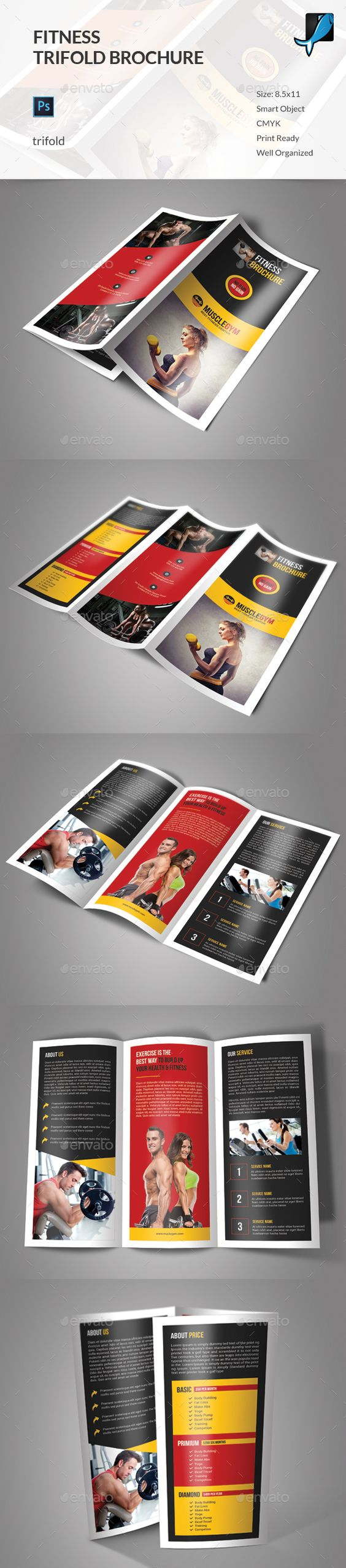 Fitness Trifold Brochure  Fitness Brochure Template And Templates