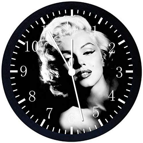 Marilyn Monroe Wall Clock Large 12 Black Frame Clear Face Silent Non-Ticking Nice for Gift or D/écor Y102