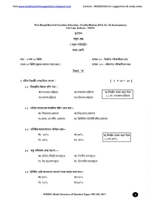 Madhyamik  Hs SuggestionsNotes Sample Model Question Paper Of