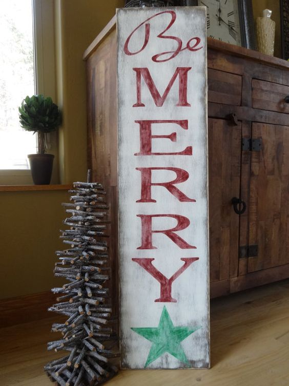 Be Merry Christmas sign. 10x40 Hand painted by MyThoughtsExactly6
