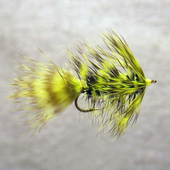 Chartreuse Grizzly Bugger Fishing Lure Fly Fishing Girl