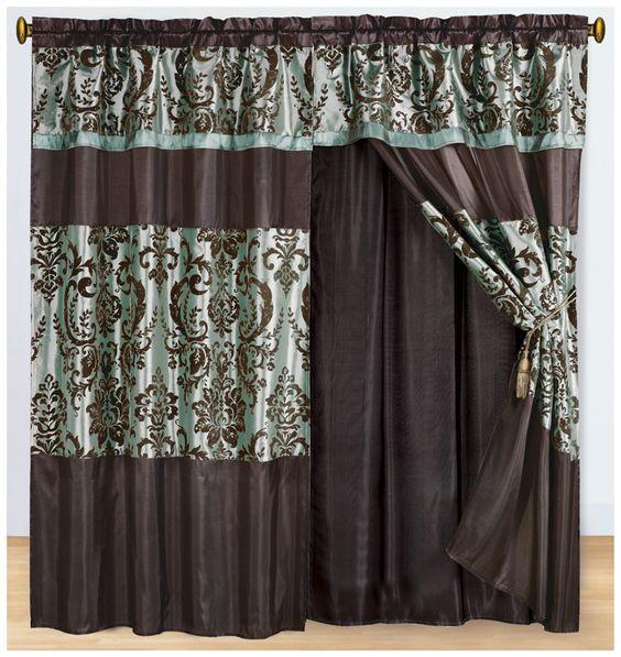 Aqua and Coffee Flocked Curtain Set w/ Valance/Sheer/Tassels on the blue wall